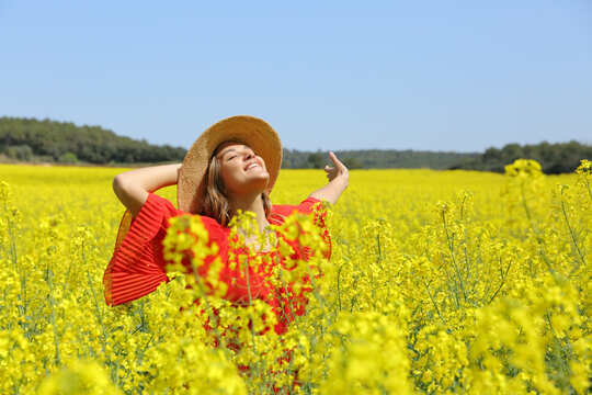 Excited woman in red spreading in a yellow field
