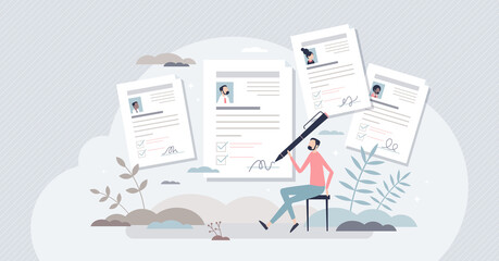 Fototapeta Job application or employment resume research for free vacancy tiny person concept. Work candidate documentation with CV and motivation letter after job interview vector illustration. Business labor. obraz