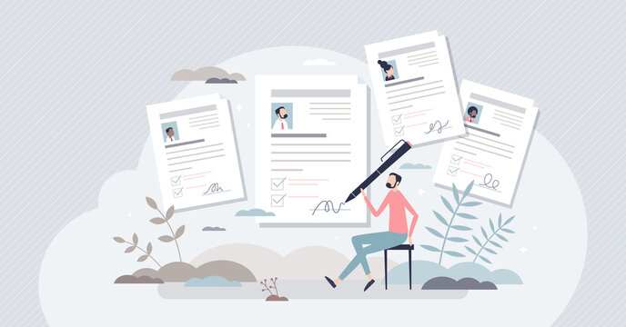 Job application or employment resume research for free vacancy tiny person concept. Work candidate documentation with CV and motivation letter after job interview vector illustration. Business labor.