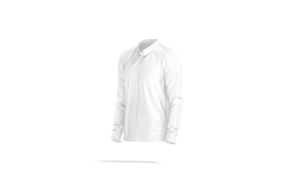 Blank white classic shirt mock up, side view