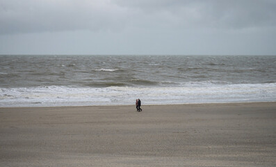 Panorama view of elderly couple walking along sand beach near Westkapelle Domburg Veere Zeeland Netherlands North Sea
