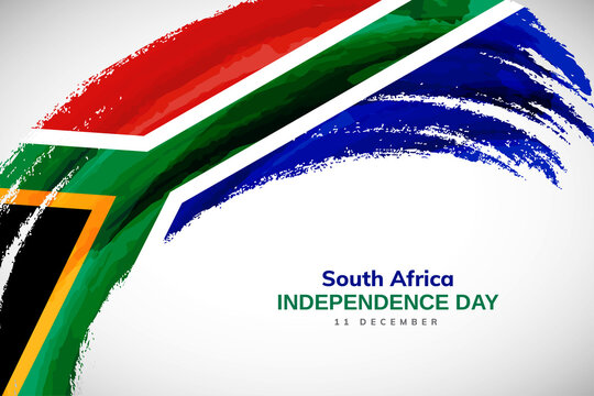 Happy independence day of South Africa with watercolor brush stroke flag background with abstract watercolor grunge brush flag