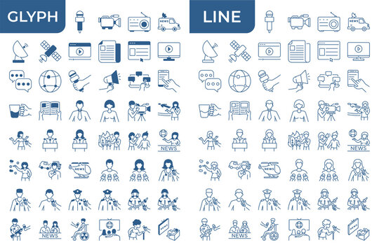 A set of linear and glyph icons on the topic of news. Media vector icons