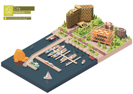 Vector isometric marina, sailboats and yacht harbor. City street, buildings and seaport. Docked or moored yachts, boats and speedboats near hotel building
