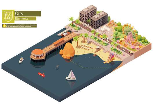Vector isometric beach pier and amusement park. Sandy beach with inflatable water slides and umbrellas, playground and skating park