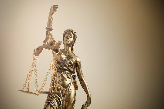 The Statue of Justice symbol, legal law concept. Filtered photo