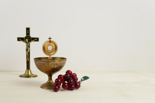First Holy Communion background with gold chalice.