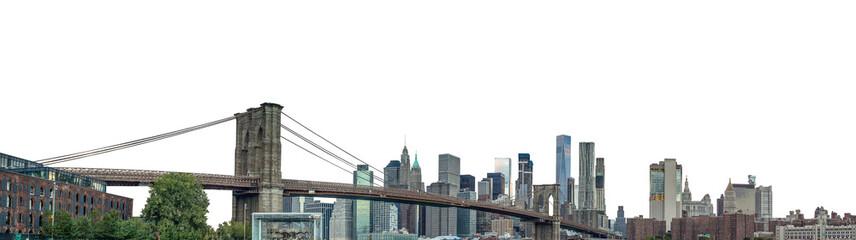 The Brooklyn Bridge and Manhattan skyline (New York, USA) isolated on white background