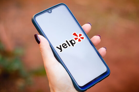 May 10, 2021, Brazil. In this photo illustration the Yelp logo seen displayed on a smartphone screen.