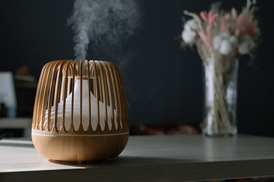 Close-up of tylish aroma oil diffuser on the background of a vase of flowers. Comfortable home environment.