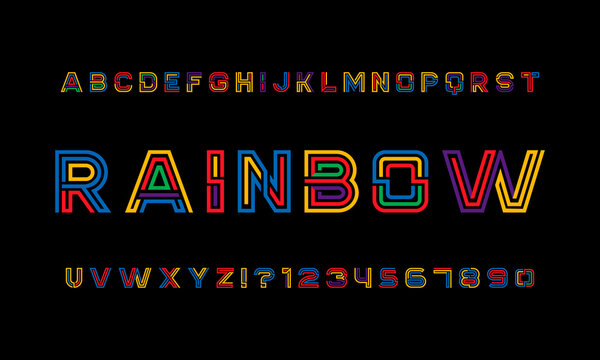 Colour Rainbow Typeface Intended To Celebrate Diversity. Retro 3D Alphabet Designed for Striking Headlines and Statements.