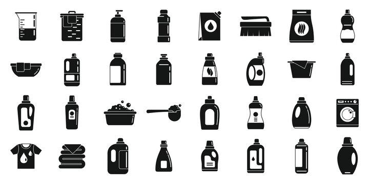 Fabric softener icons set, simple style