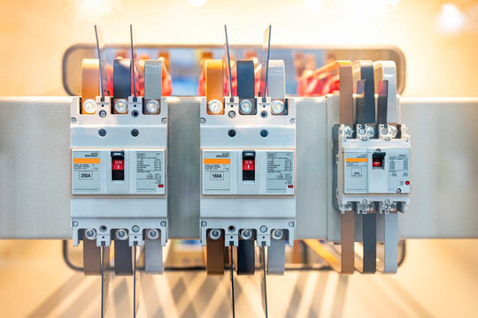 Automatic high voltage electric circuit breaker switch install at electrical power control cabinet for supply to machine or factory in industrial