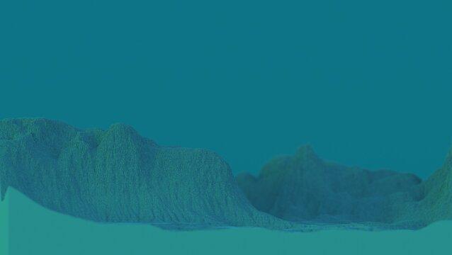 blue voxels mountain landscape 3D computer generated background