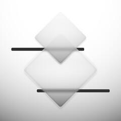 Glassmorphism - transparentne romby z oszronionego szkła oraz ciemne paski na jasnym tle. Abstrakcyjna ilustracja dla social media story, internetowe projekty, aplikacje mobilne.