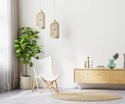 living room interior background with white armchair and wooden furniture, scandi boho style, empty wall mock up, 3d rendering