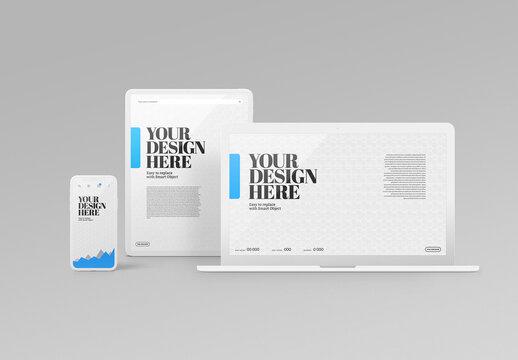 Laptop Mockup - Tablet, Phone, Minimal, White Scene