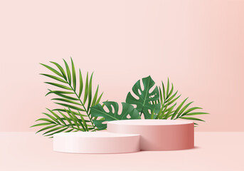 Fototapeta 3d background products display podium scene with green leaf geometric platform. background vector 3d render with podium. stand to show cosmetic products. Stage showcase on pedestal display pink studio obraz