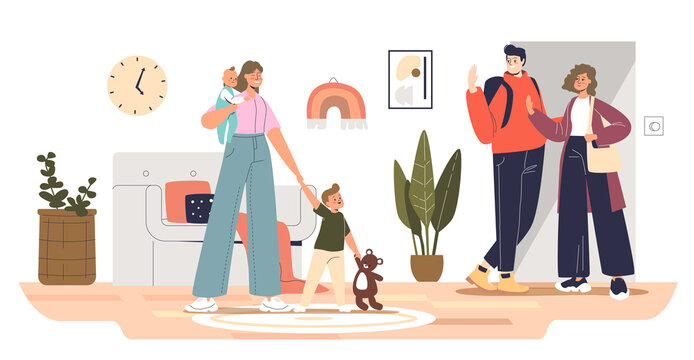 Mom and dad leaving kids with home babysitter female, professional nurse babysitting small children