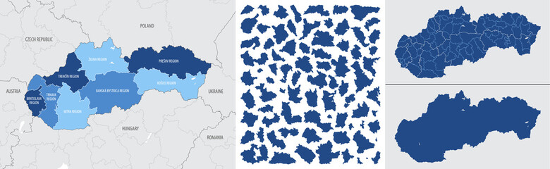Fototapeta Detailed, vector, blue map of Slovakia with administrative divisions country obraz