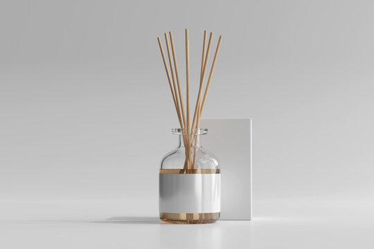 Isolated Incense Air Freshener Reed Diffuser Glass Bottle with Box 3D Rendering