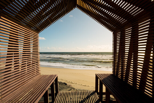 Relaxing view from a seashore bench