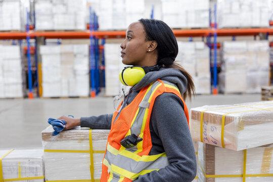 Portrait of worker in distribution warehouse
