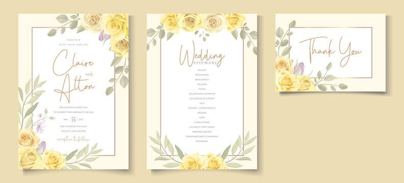 Beautiful yellow floral wedding invitation card design