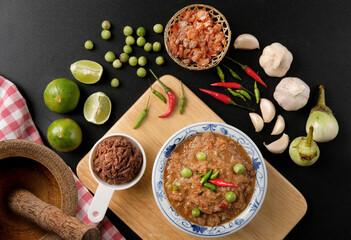 Obraz Shrimp Paste Chilli Sauce (Nam Prik Ka Pi) with Ingredients to cook, top view - fototapety do salonu