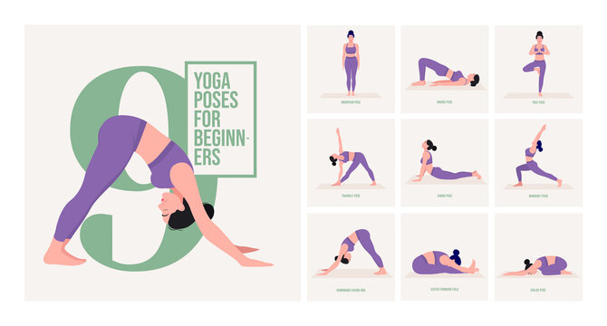 Beginner yoga poses. Young woman practicing Yoga pose. Woman workout fitness, aerobic and exercises. Vector Illustration.