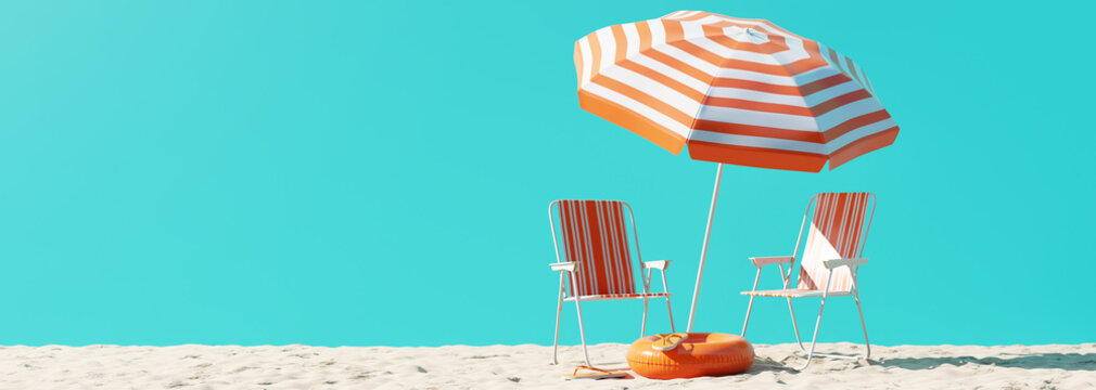Summer beach concept, chair with umbrella and inflatable ring on blue background. 3d rendering