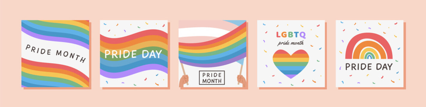 Vector Banner Template Set with LGBTQ symbols. Social media post, stories, poster template with LGBT rainbow flag. Collection of Cards for pride month celebration. Gay parade. Flat style Illustration.