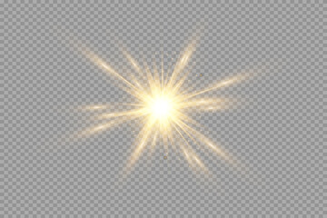 Yellow glowing transparent light burst explosion. Vector illustration for cool effect decoration with ray sparkles. Bright star. Transparent shining gradient glitter, bright flare. Glare texture. - fototapety na wymiar