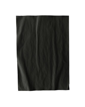Black paper wrinkled poster template, blank paper sheet mockup. Black poster mockup on wall. Clipping path.