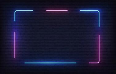 Fototapeta Neon frame template. Light banner design. Vector glowing rectangle signboard obraz