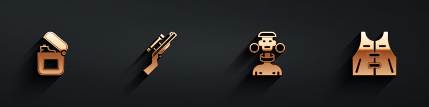 Set Lighter, Sniper rifle with scope, African tribe male and Hunting jacket icon with long shadow. Vector
