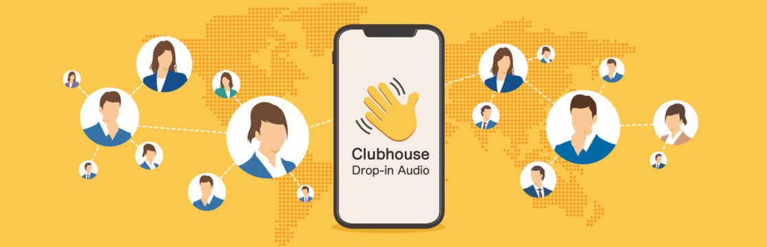 Clubhouse invite hand set. Black and yellow clubhouse hand. Invitation symbol.