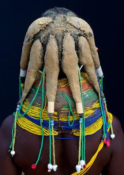 Mwila Woman Wearing The Vilanda Necklace, Chibia Area, Angola