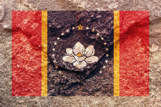 Faded Mississippi state flag icon pattern isolated on weathered solid rock wall background