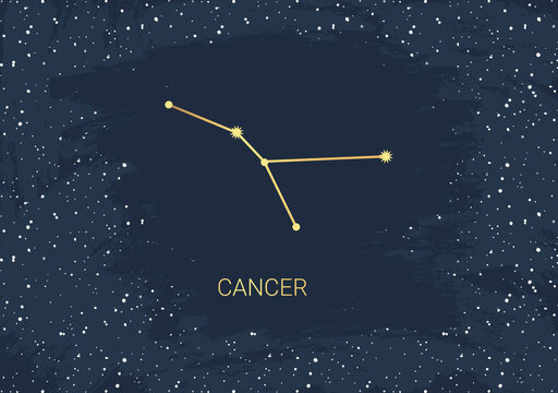 Hand drawn card of gold Cancer, star, brush. Constellation celestial space. Zodiac horoscope symbol, star astrology, astrology sign, icon. Magic space galaxy, vector sketch illustration