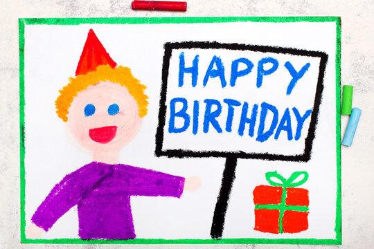 Colorful drawing: Happy Birthday card. Smiling birthday boy with gift