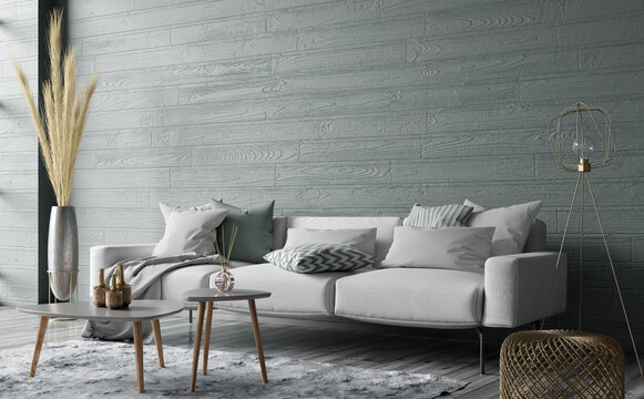 Modern interior design of cozy living room with gray sofa and coffee tables. 3d rendering