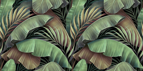 Fototapeta Tropical seamless pattern with beautiful palm, banana leaves. Hand-drawn vintage 3D illustration. Glamorous exotic abstract background design. Good for luxury wallpapers, cloth, fabric printing, goods obraz