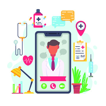 Online doctor, support. First aid people, internet consult therapist use device, app. Doctor help patient. Video call medical examination, call center communication, web services. Vector illustration.