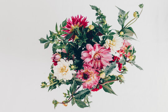 Modern flower arrangement with dahlia flowers pink and white. Isolated background, view from above.