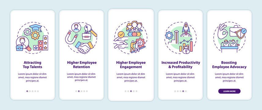 Company culture benefits onboarding mobile app page screen with concepts. Top talents, engagement walkthrough 5 steps graphic instructions. UI, UX, GUI vector template with linear color illustrations