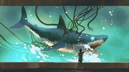 Self adhesive Wall Murals Grandfailure woman looking at the experimental shark in a big fish tank, digital art style, illustration painting