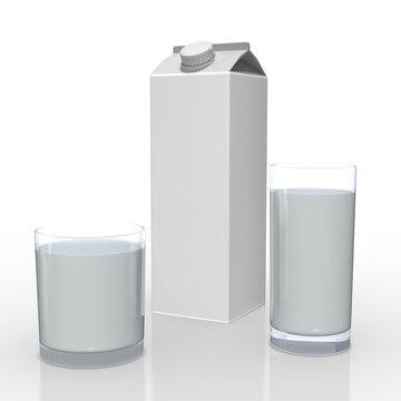 3d 2 Trinkgläser mit Milch und Tetrapak mit Verschluß, isoliert