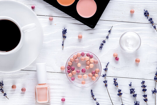 decorative cosmetics on woman office desk background top view