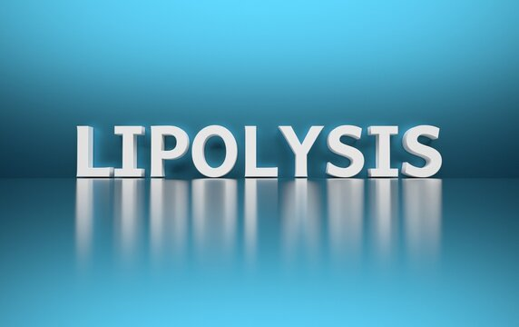 Large bold word scientific term lipolysis on blue background